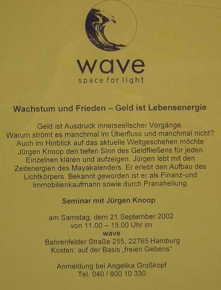 Ankündigung in einem Werbeschaukasten für eine Esoterik-Buchhandlung, Hamburg